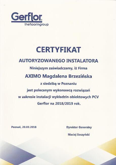 GERFLOR certyfikat AXIMO