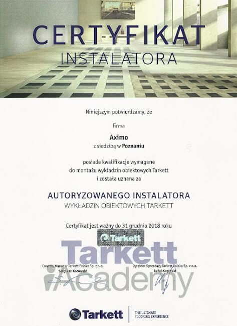 TARKET certyfikat AXIMO